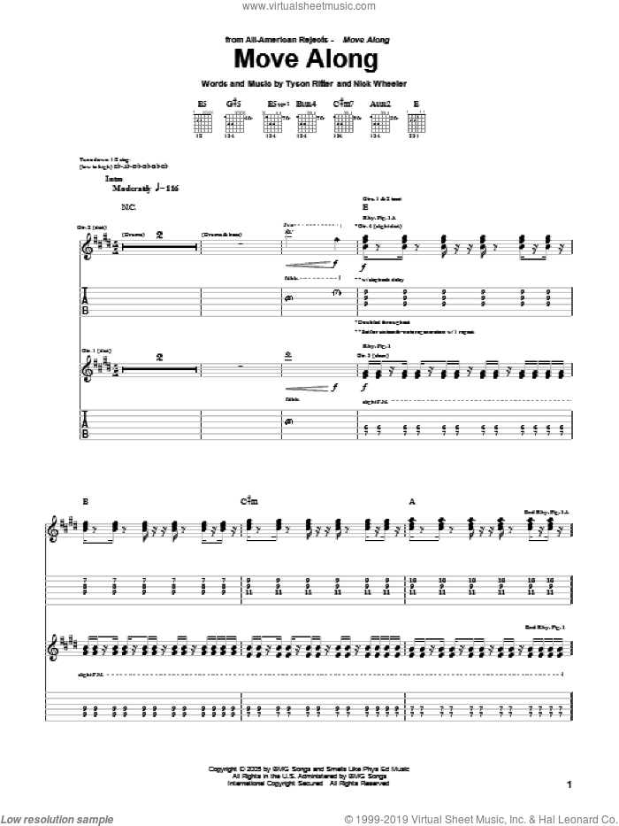 Move Along sheet music for guitar (tablature) by Tyson Ritter. Score Image Preview.
