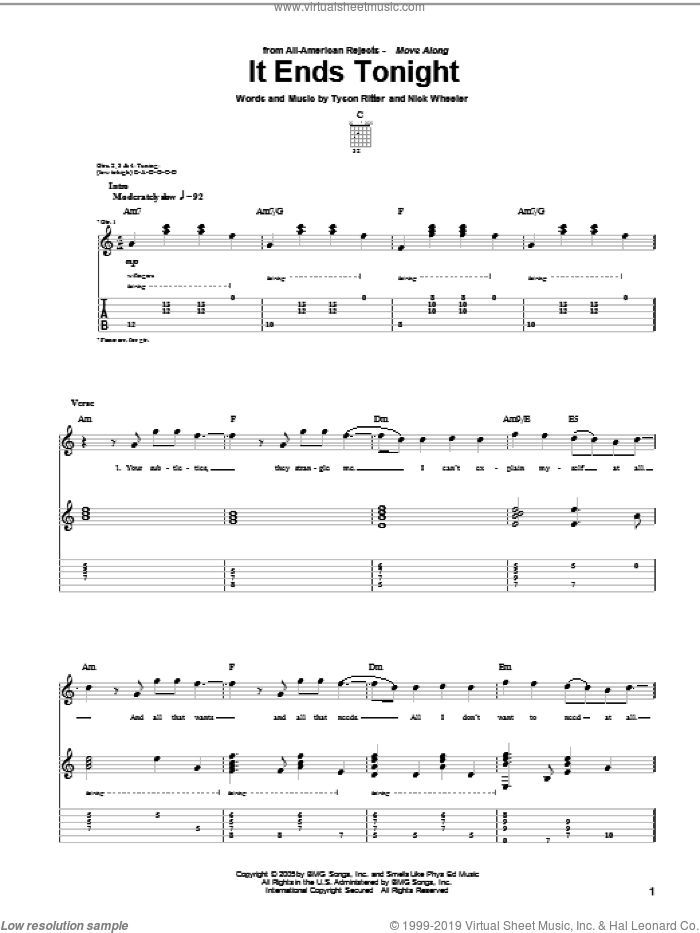 It Ends Tonight sheet music for guitar (tablature) by The All-American Rejects. Score Image Preview.