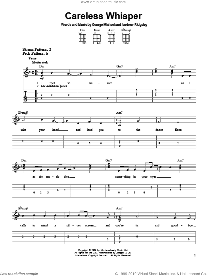 Careless Whisper sheet music for guitar solo (easy tablature) by George Michael, Andrew Ridgeley and Wham!, easy guitar (easy tablature)