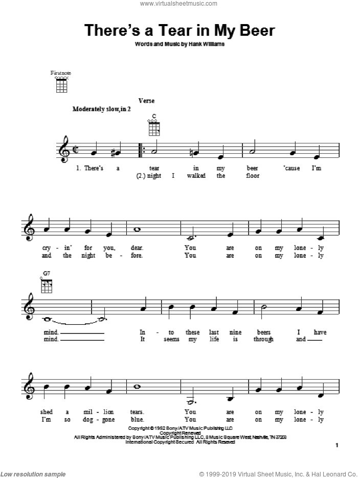 There's A Tear In My Beer sheet music for ukulele by Hank Williams, intermediate skill level