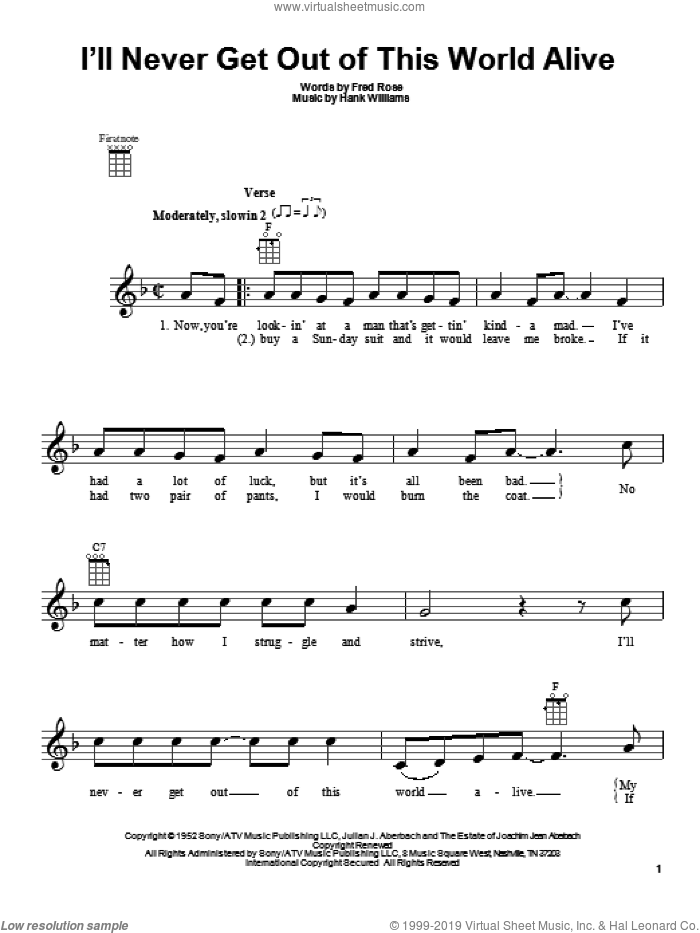 I'll Never Get Out Of This World Alive sheet music for ukulele by Fred Rose and Hank Williams. Score Image Preview.