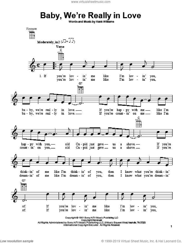 Baby, We're Really In Love sheet music for ukulele by Hank Williams, intermediate skill level