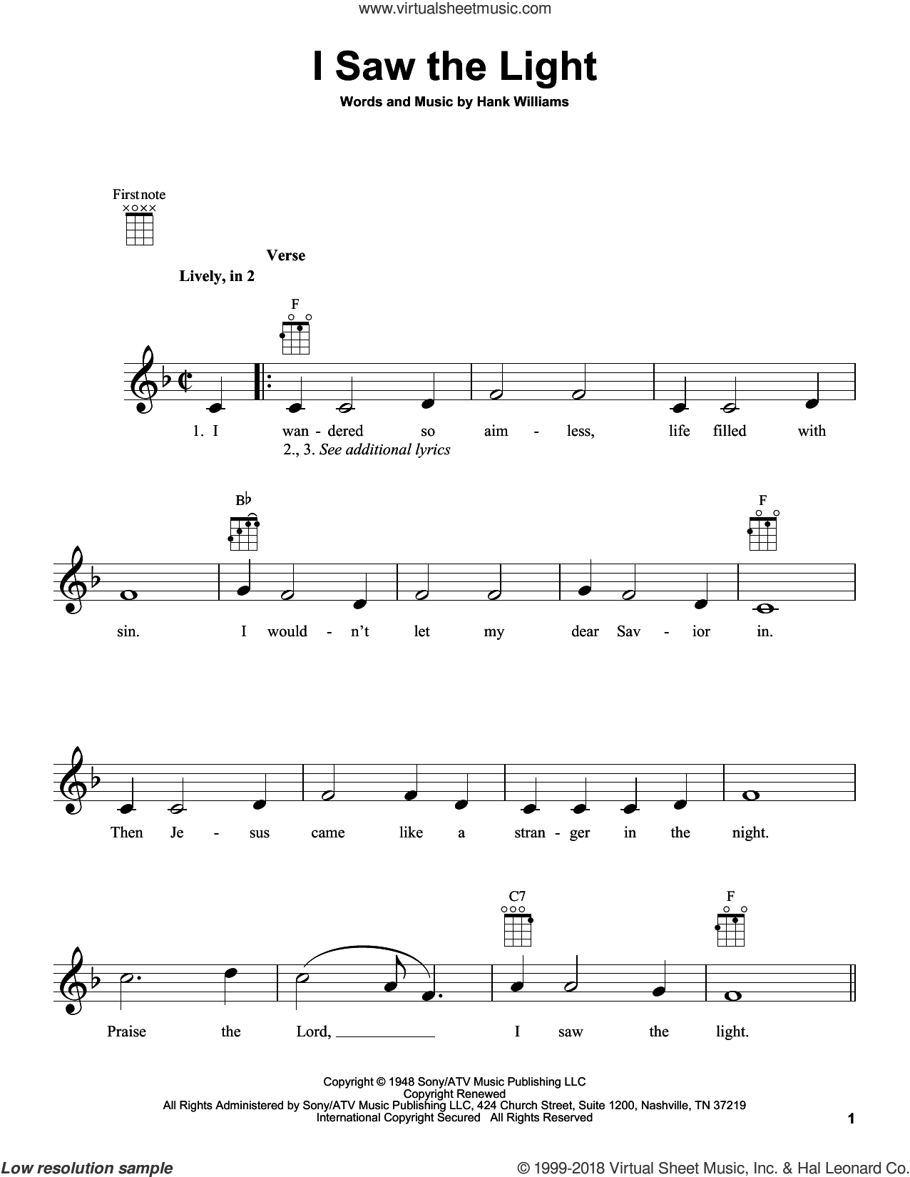 I Saw The Light sheet music for ukulele by Hank Williams. Score Image Preview.