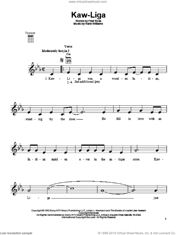 Kaw-Liga sheet music for ukulele by Hank Williams, intermediate skill level
