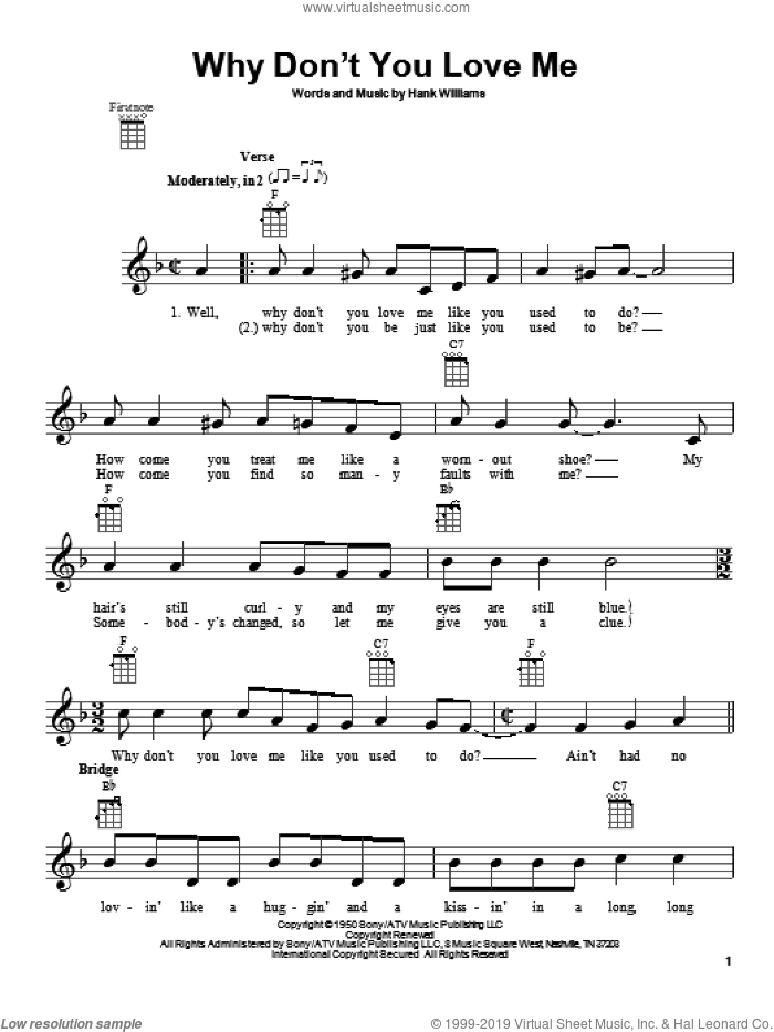 Why Don't You Love Me sheet music for ukulele by Hank Williams. Score Image Preview.