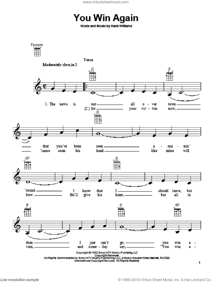 You Win Again sheet music for ukulele by Hank Williams, Charley Pride and Fats Domino, intermediate skill level