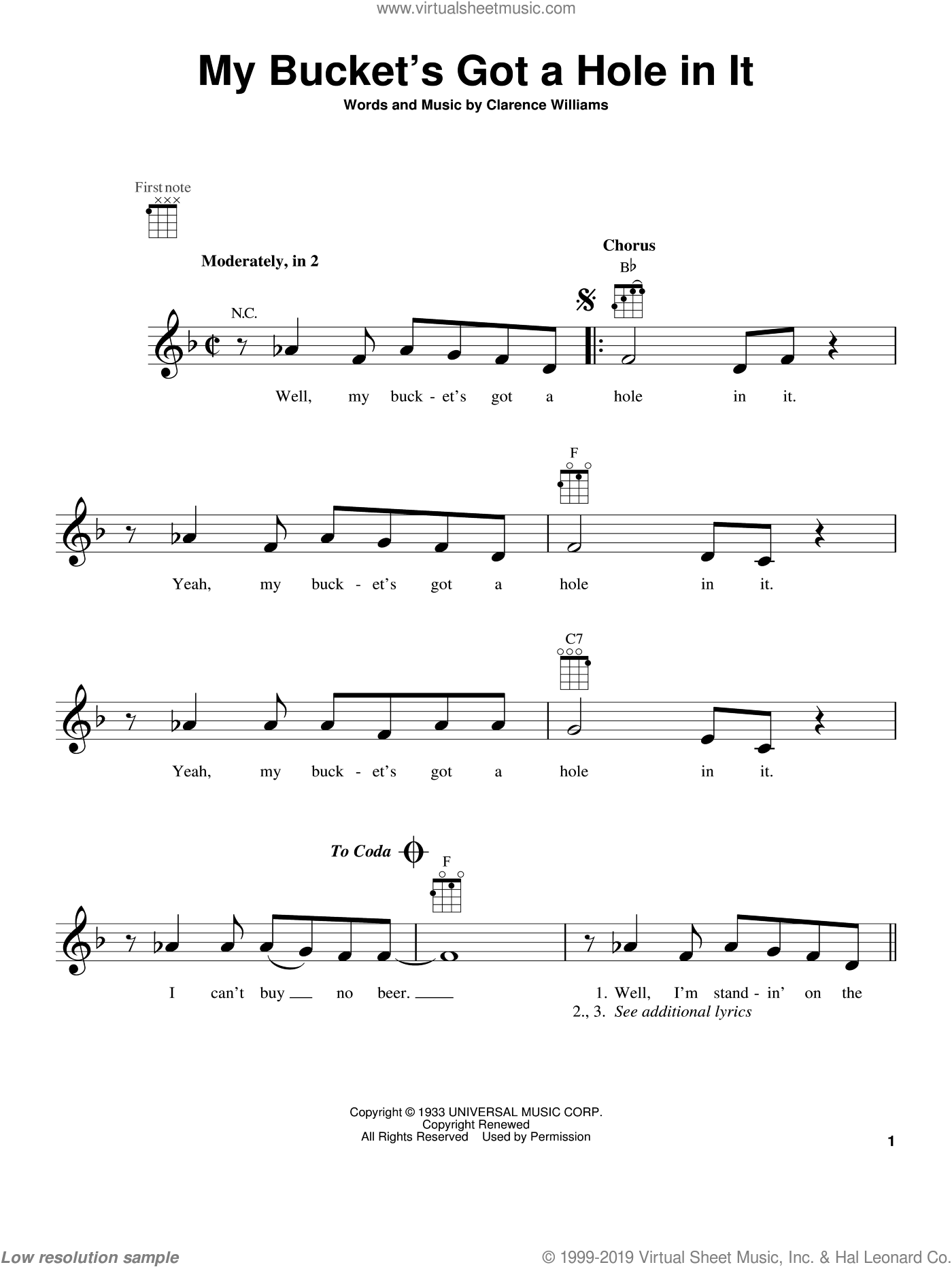 My Bucket's Got A Hole In It sheet music for ukulele by Clarence Williams and Hank Williams. Score Image Preview.