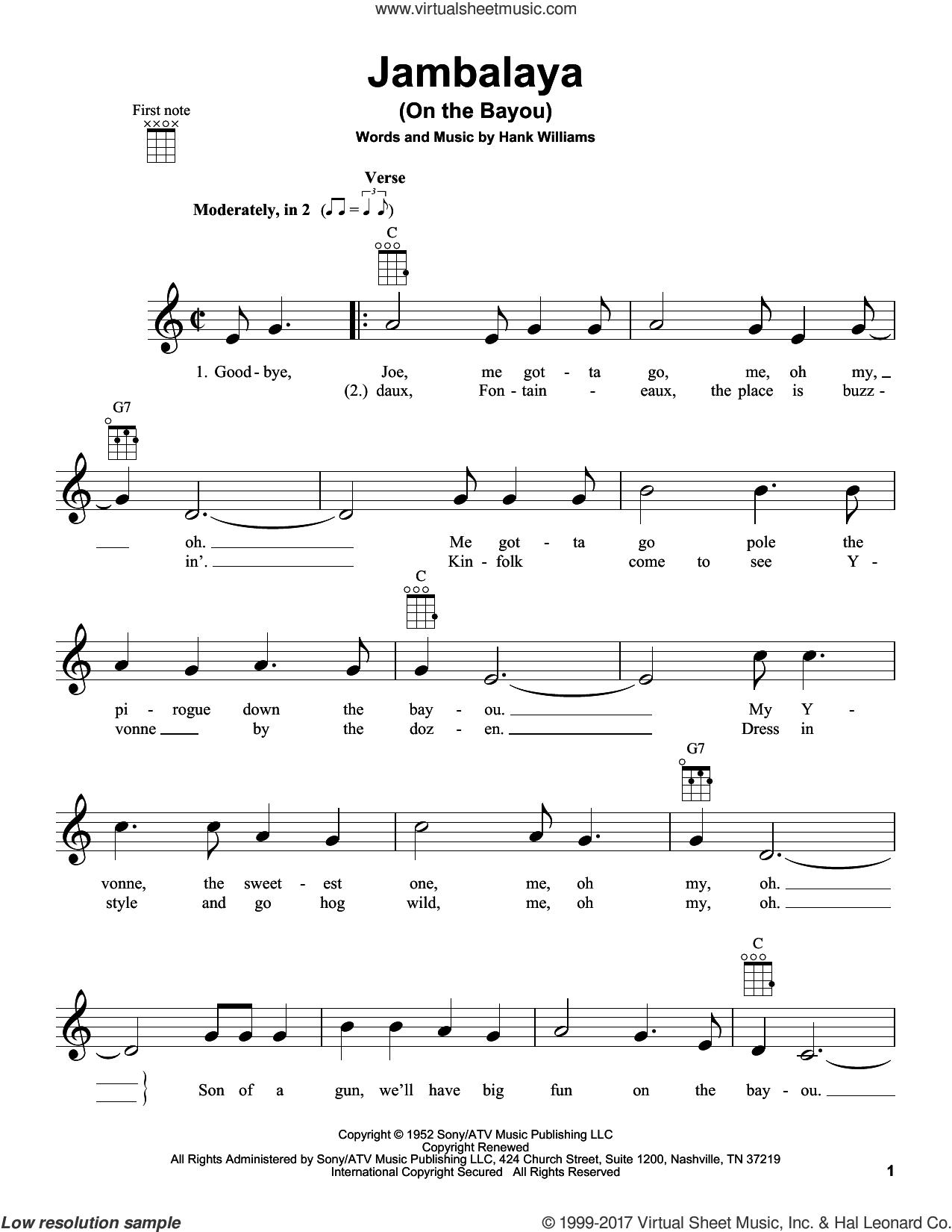 Jambalaya (On The Bayou) sheet music for ukulele by Hank Williams, intermediate skill level