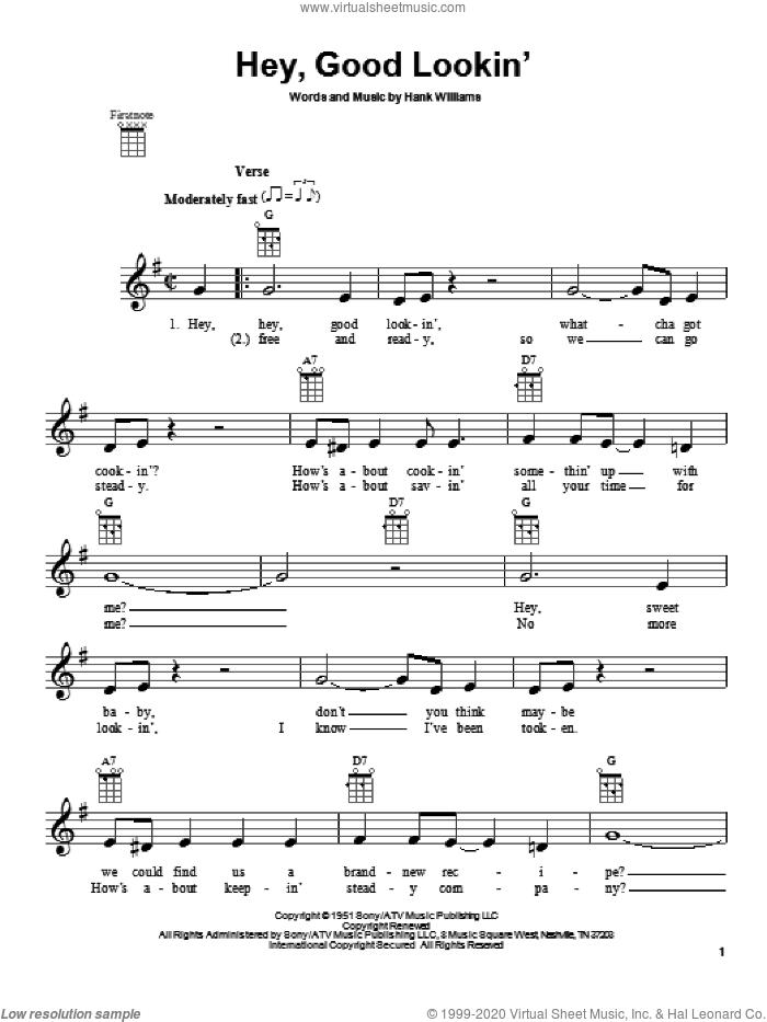 Hey, Good Lookin' sheet music for ukulele by Hank Williams, intermediate skill level