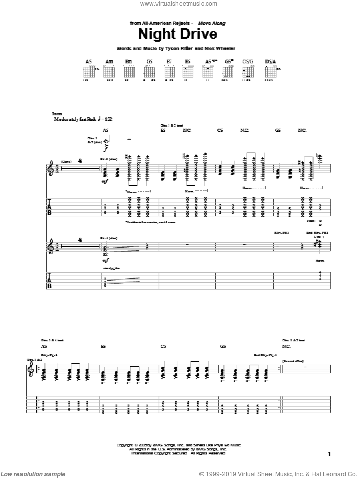Night Drive sheet music for guitar (tablature) by Tyson Ritter. Score Image Preview.