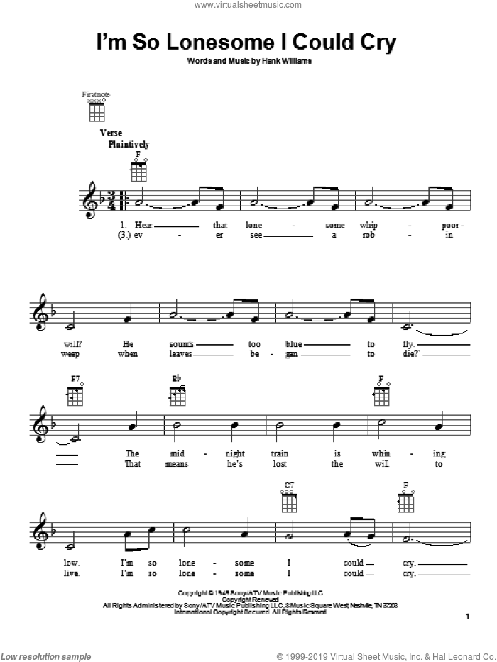 I'm So Lonesome I Could Cry sheet music for ukulele by Hank Williams. Score Image Preview.