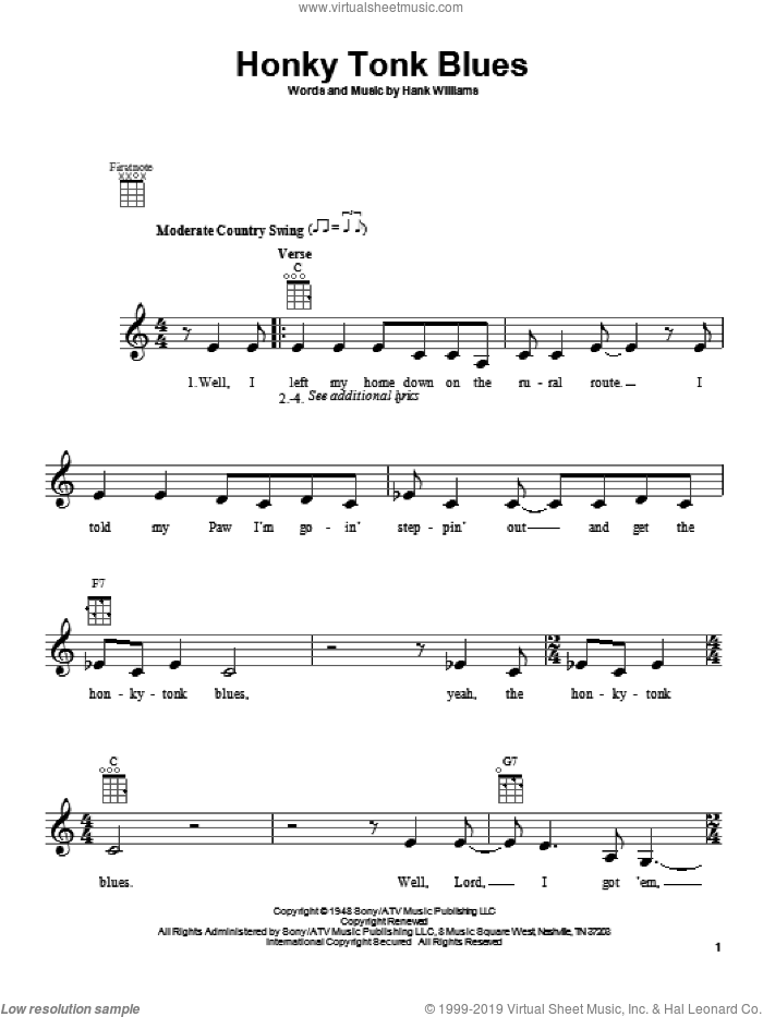 Honky Tonk Blues sheet music for ukulele by Hank Williams and Charley Pride. Score Image Preview.