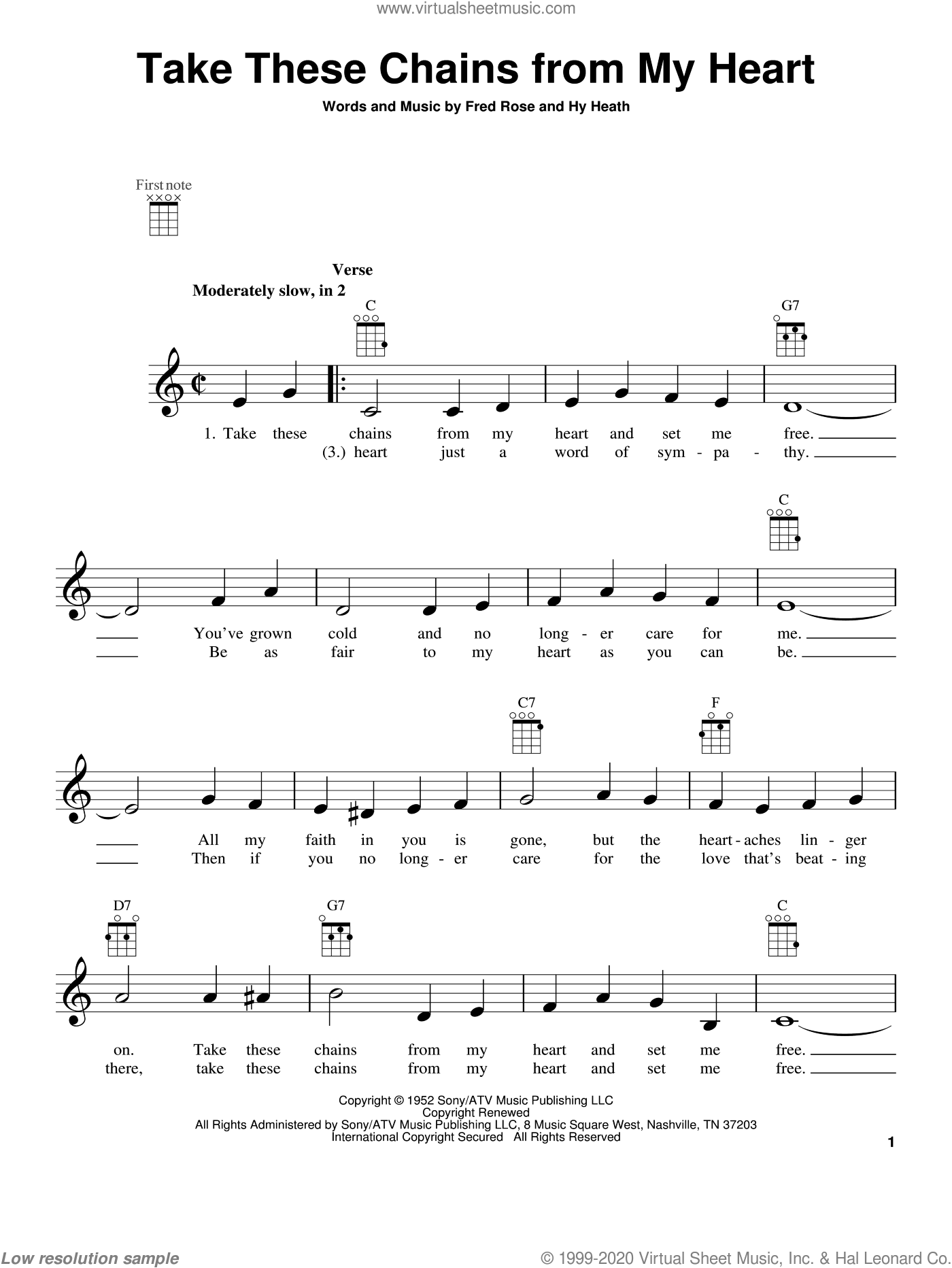 Take These Chains From My Heart sheet music for ukulele by Hy Heath, Fred Rose and Hank Williams. Score Image Preview.