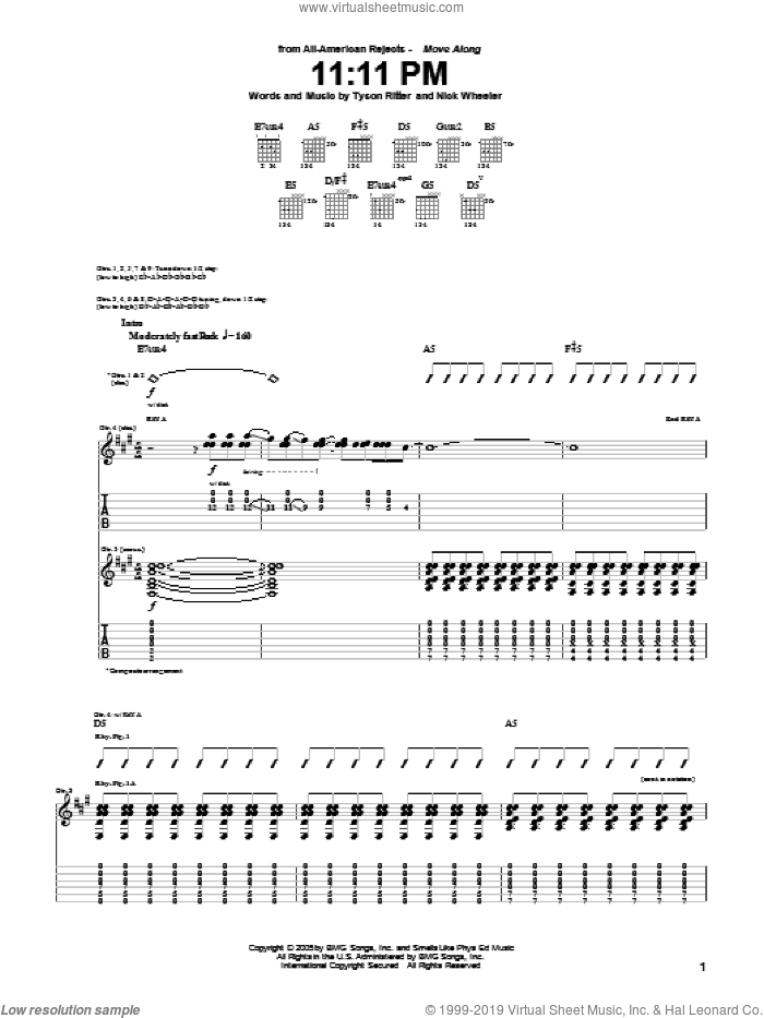 11:11 PM sheet music for guitar (tablature) by The All-American Rejects. Score Image Preview.