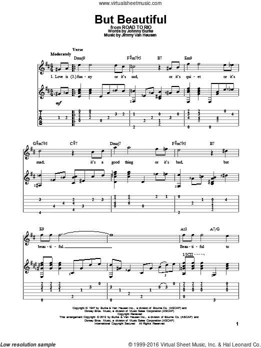 But Beautiful sheet music for guitar solo by Jimmy Van Heusen and John Burke, intermediate