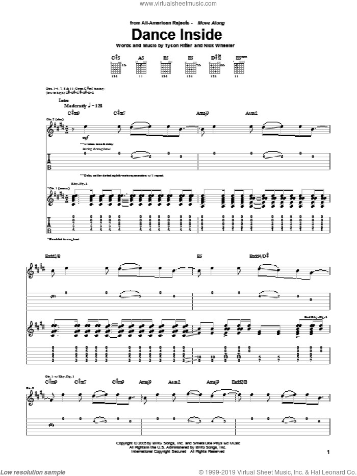 Dance Inside sheet music for guitar (tablature) by Tyson Ritter. Score Image Preview.