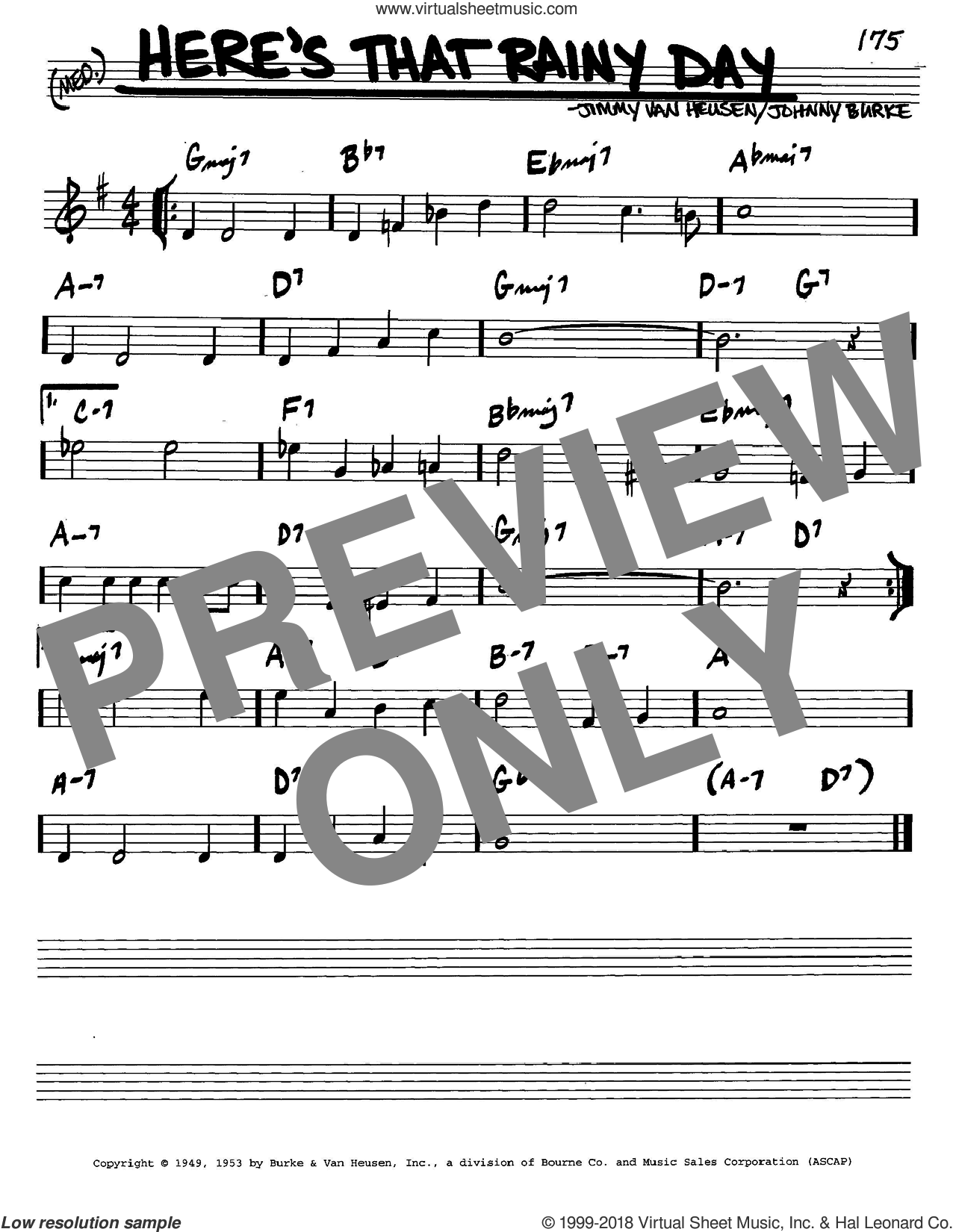 Here's That Rainy Day sheet music for voice and other instruments (C) by Jimmy Van Heusen