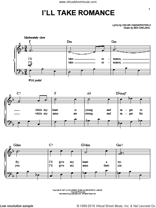 I'll Take Romance sheet music for piano solo by Ben Oakland and Oscar II Hammerstein, easy piano. Score Image Preview.