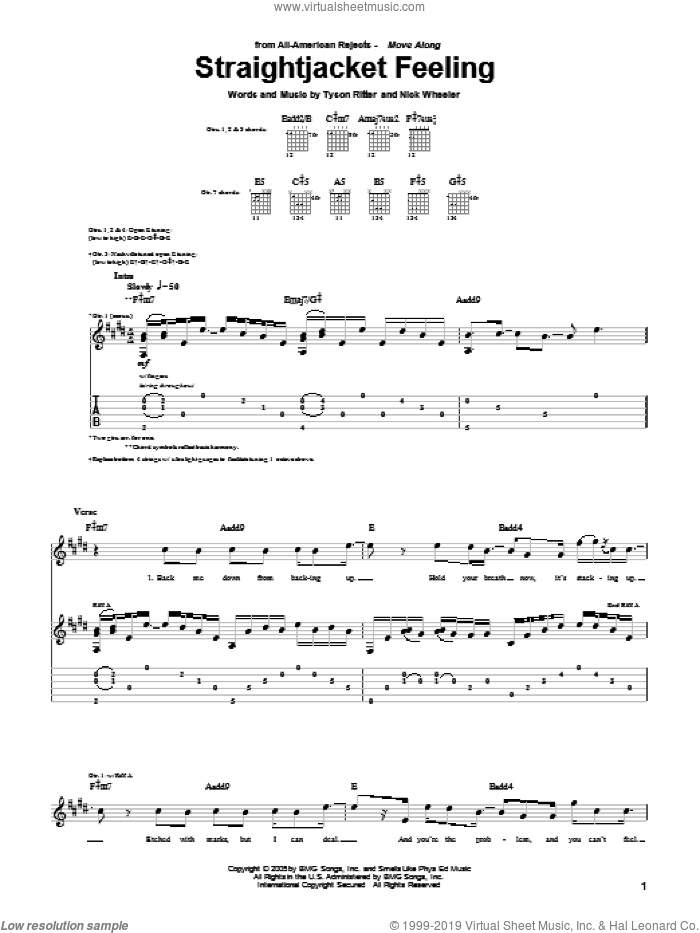 Straightjacket Feeling sheet music for guitar (tablature) by Tyson Ritter. Score Image Preview.