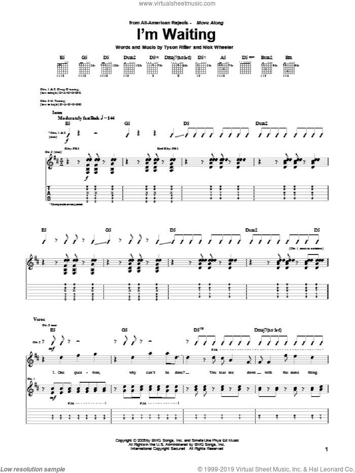 I'm Waiting sheet music for guitar (tablature) by Tyson Ritter