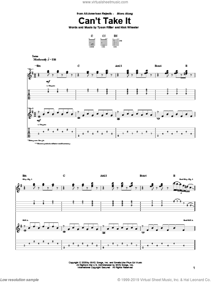 Can't Take It sheet music for guitar (tablature) by Tyson Ritter. Score Image Preview.