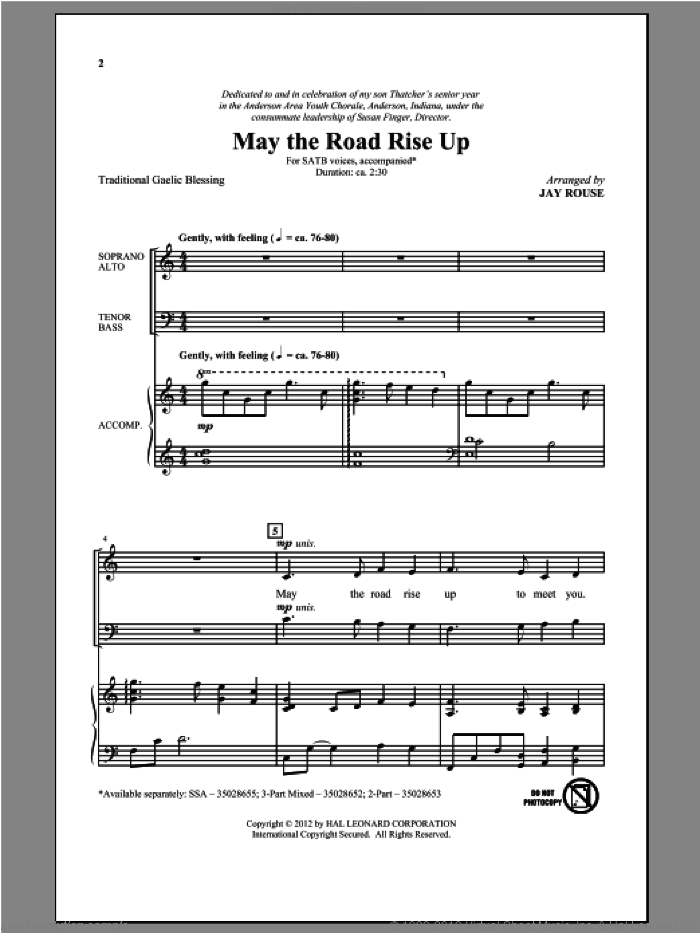 May The Road Rise Up sheet music for choir (SATB: soprano, alto, tenor, bass) by Jay Rouse, intermediate skill level