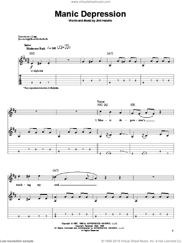 Manic Depression sheet music for guitar (tablature, play-along) by Jimi Hendrix. Score Image Preview.