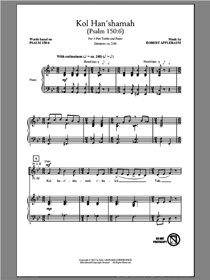 Kol Han'shamah sheet music for choir (3-Part Treble) by Robert Applebaum, intermediate skill level