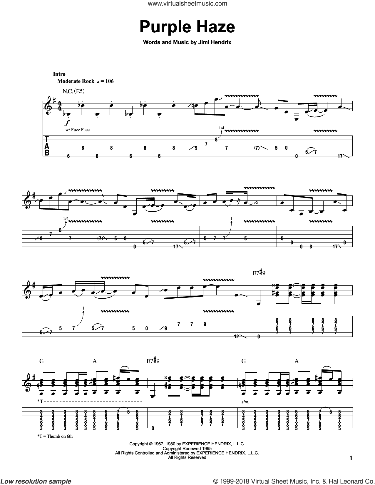 Purple Haze sheet music for guitar (tablature, play-along) by Jimi Hendrix, intermediate skill level