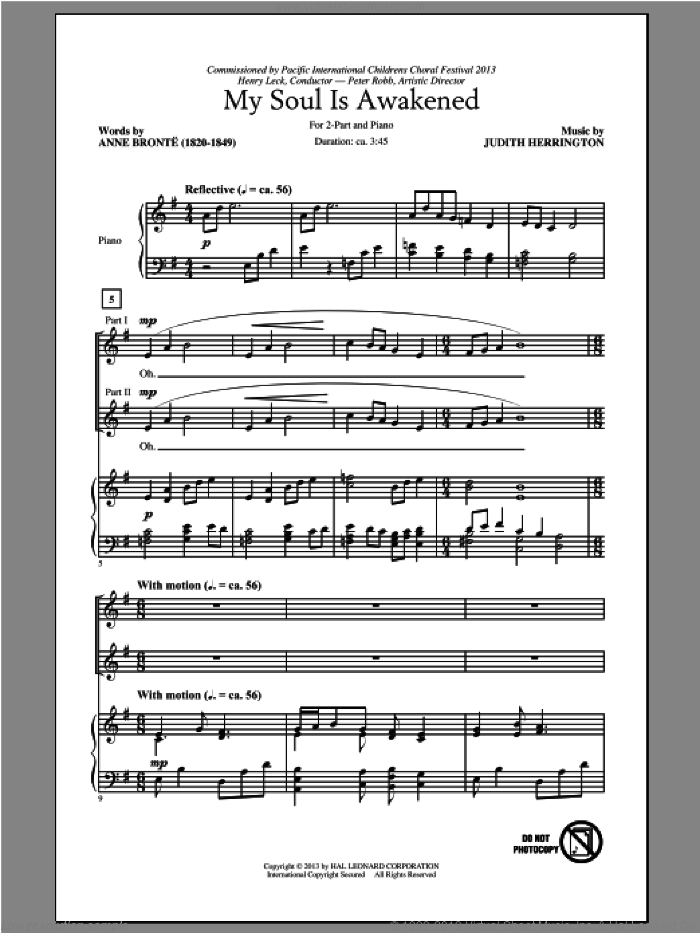 My Soul Is Awakened sheet music for choir and piano (duets) by Judith Herrington. Score Image Preview.