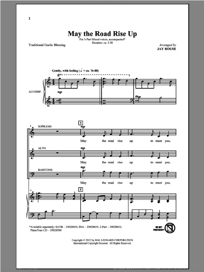 May The Road Rise Up sheet music for choir (3-Part Mixed) by Jay Rouse, intermediate. Score Image Preview.