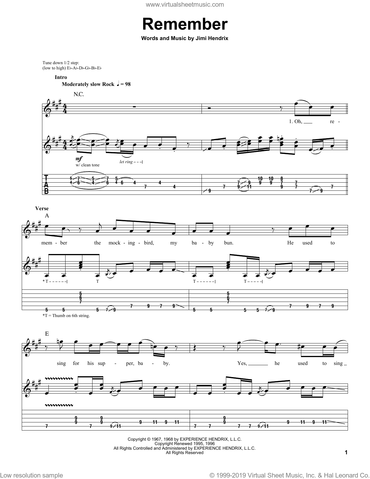 Remember sheet music for guitar (tablature, play-along) by Jimi Hendrix. Score Image Preview.