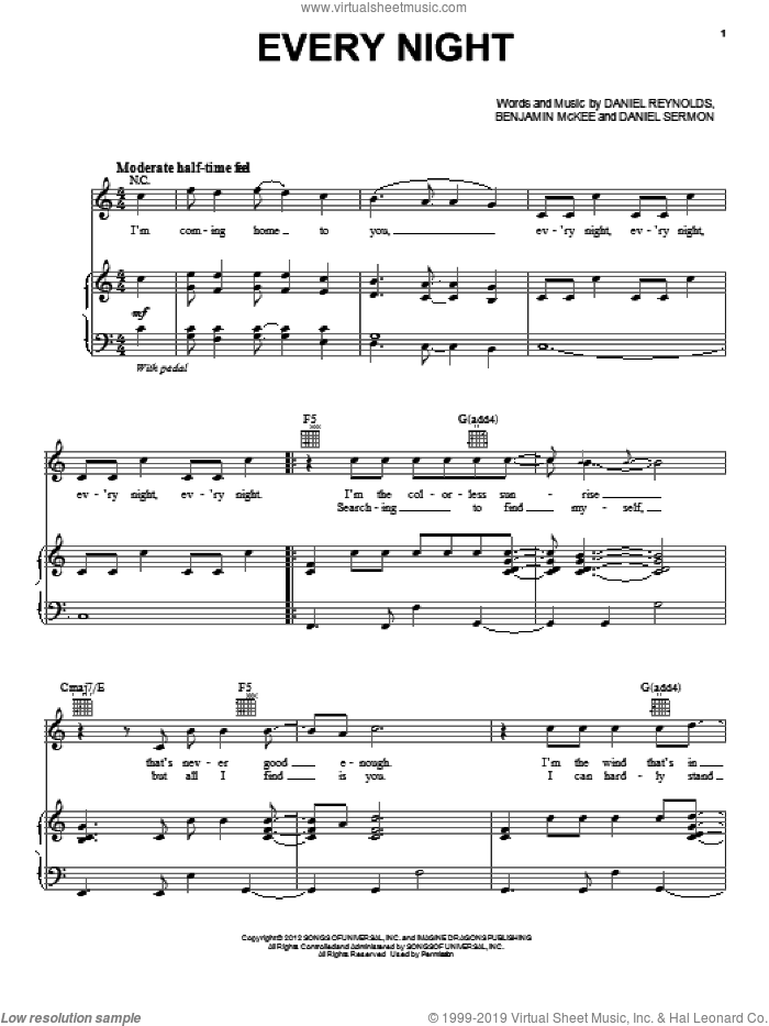 Every Night sheet music for voice, piano or guitar by Imagine Dragons, intermediate skill level