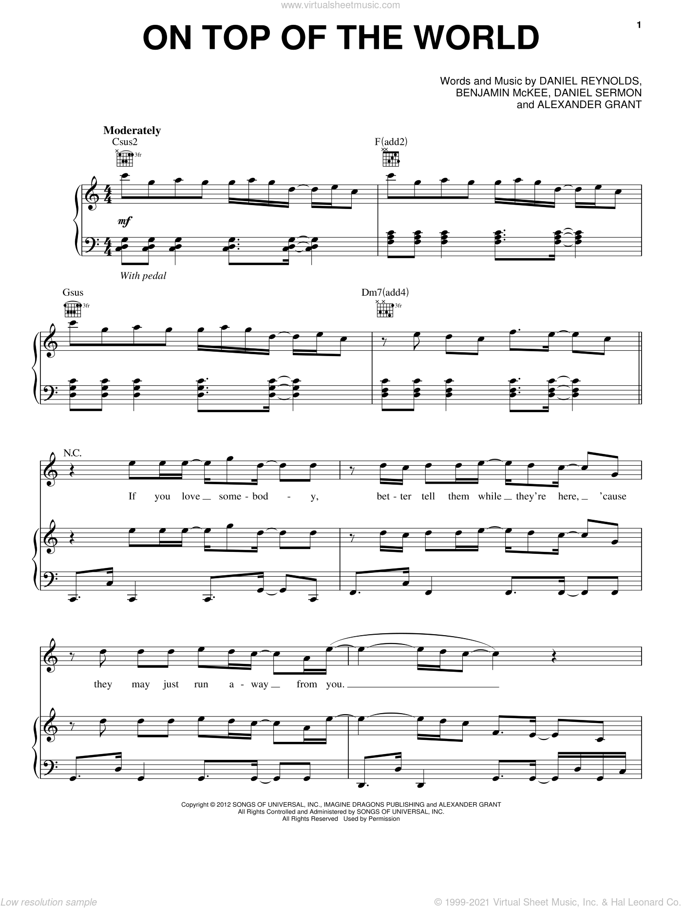On Top Of The World sheet music for voice, piano or guitar by Imagine Dragons, intermediate skill level