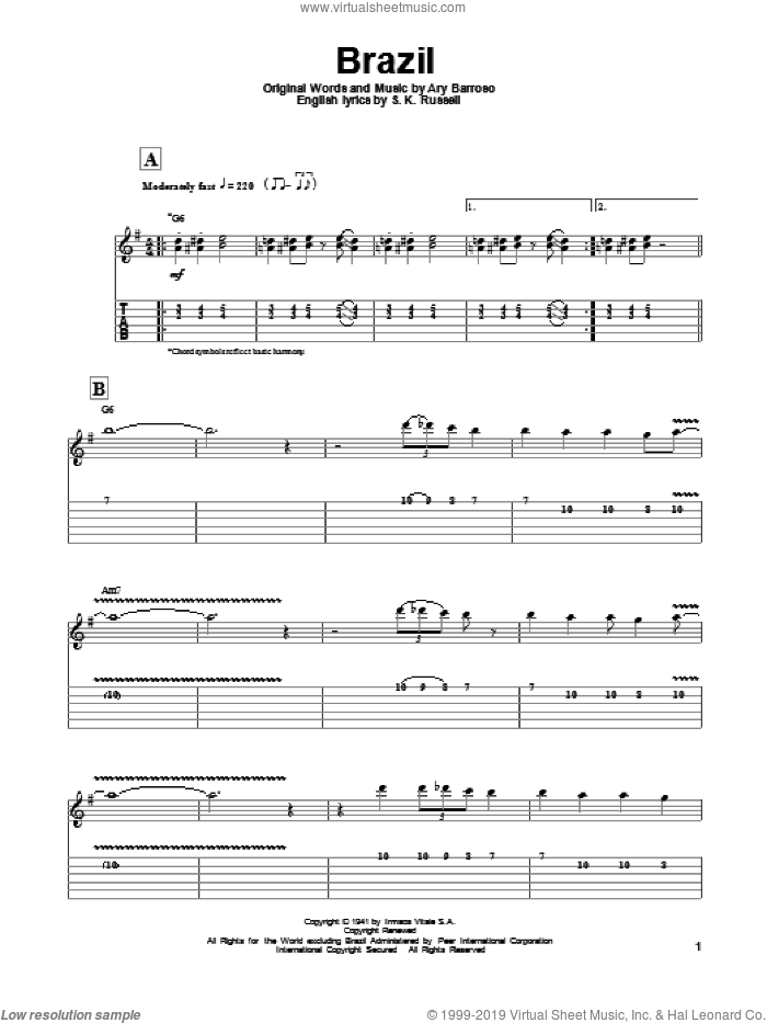 Brazil sheet music for guitar (tablature, play-along) by S.K. Russell, Ary Barroso and Django Reinhardt. Score Image Preview.