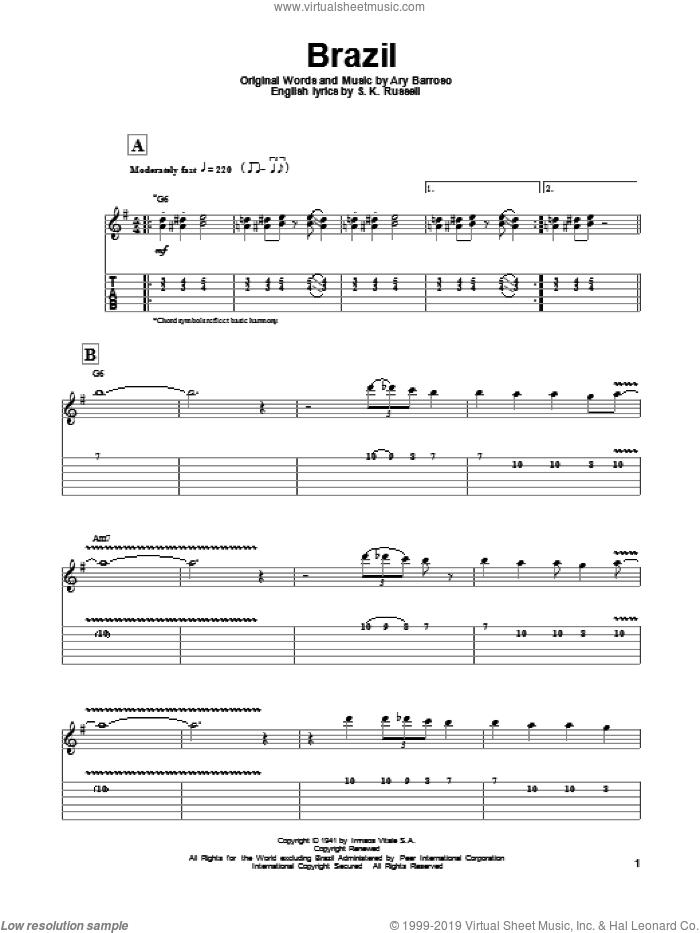 Reinhardt - Brazil sheet music for guitar (tablature, play-along)