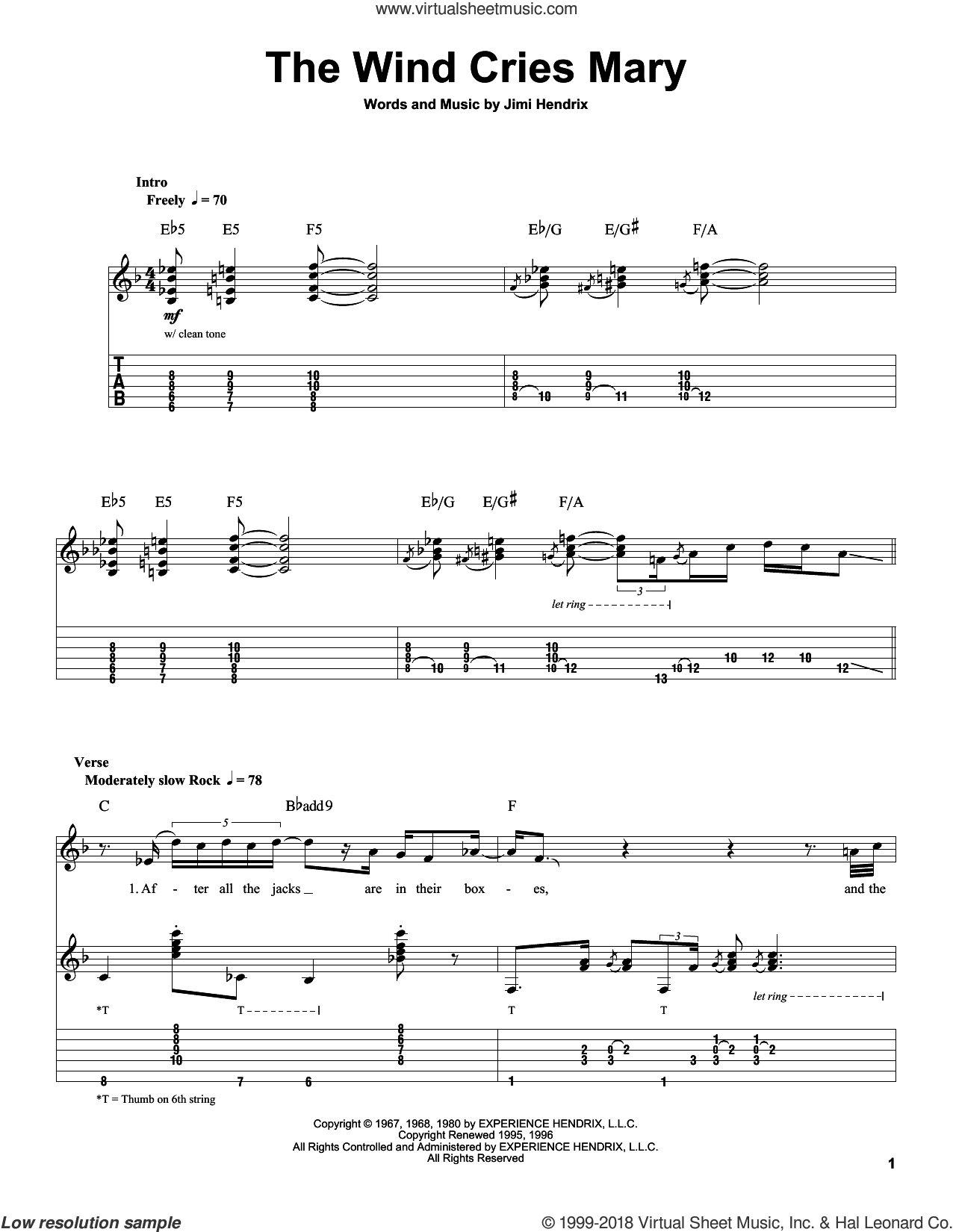 The Wind Cries Mary sheet music for guitar (tablature, play-along) by Jimi Hendrix, intermediate guitar (tablature, play-along). Score Image Preview.