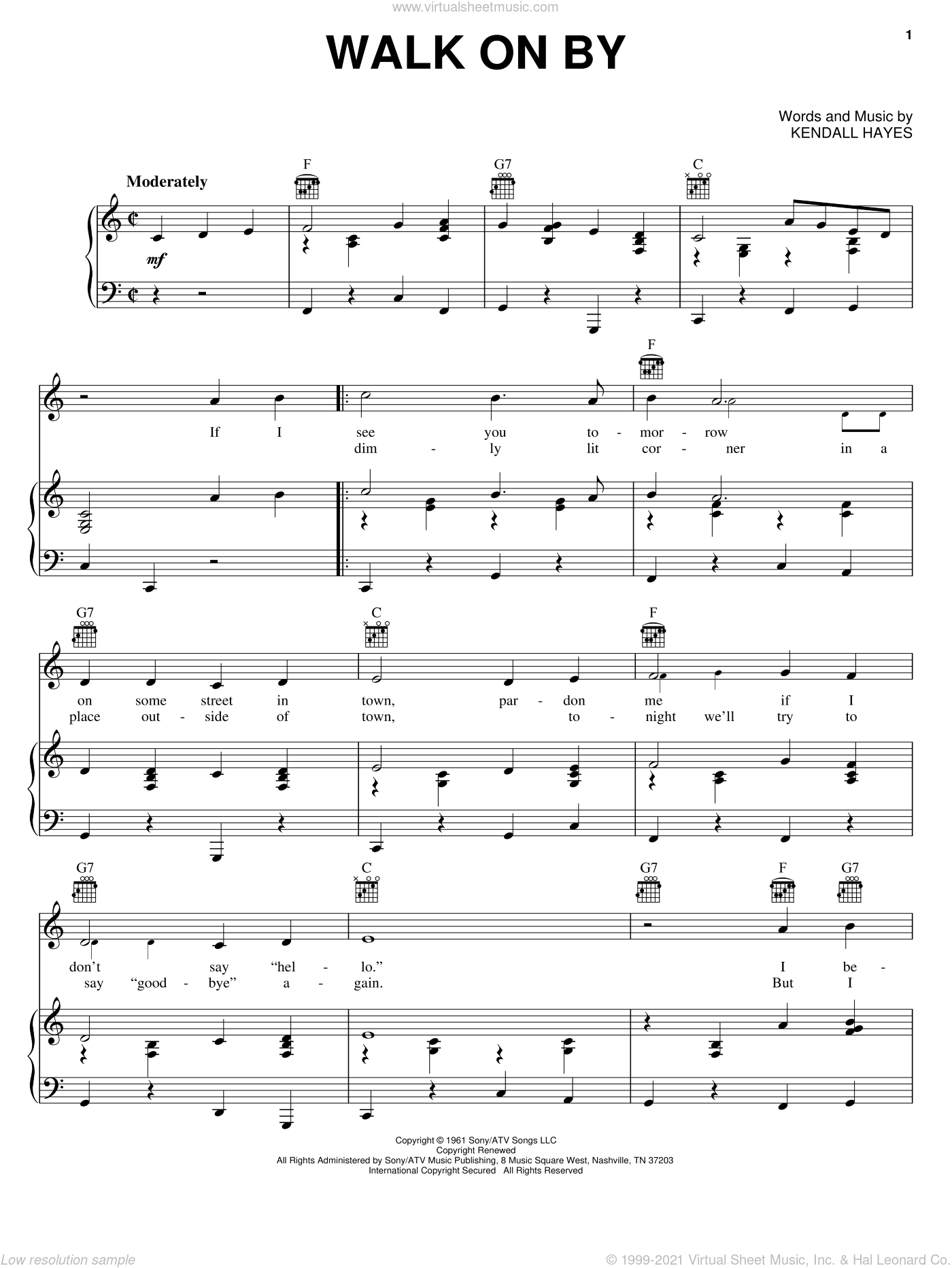 Walk On By sheet music for voice, piano or guitar by Leroy Van Dyke, Asleep At The Wheel, Charley Pride and Kendall Hays, intermediate skill level