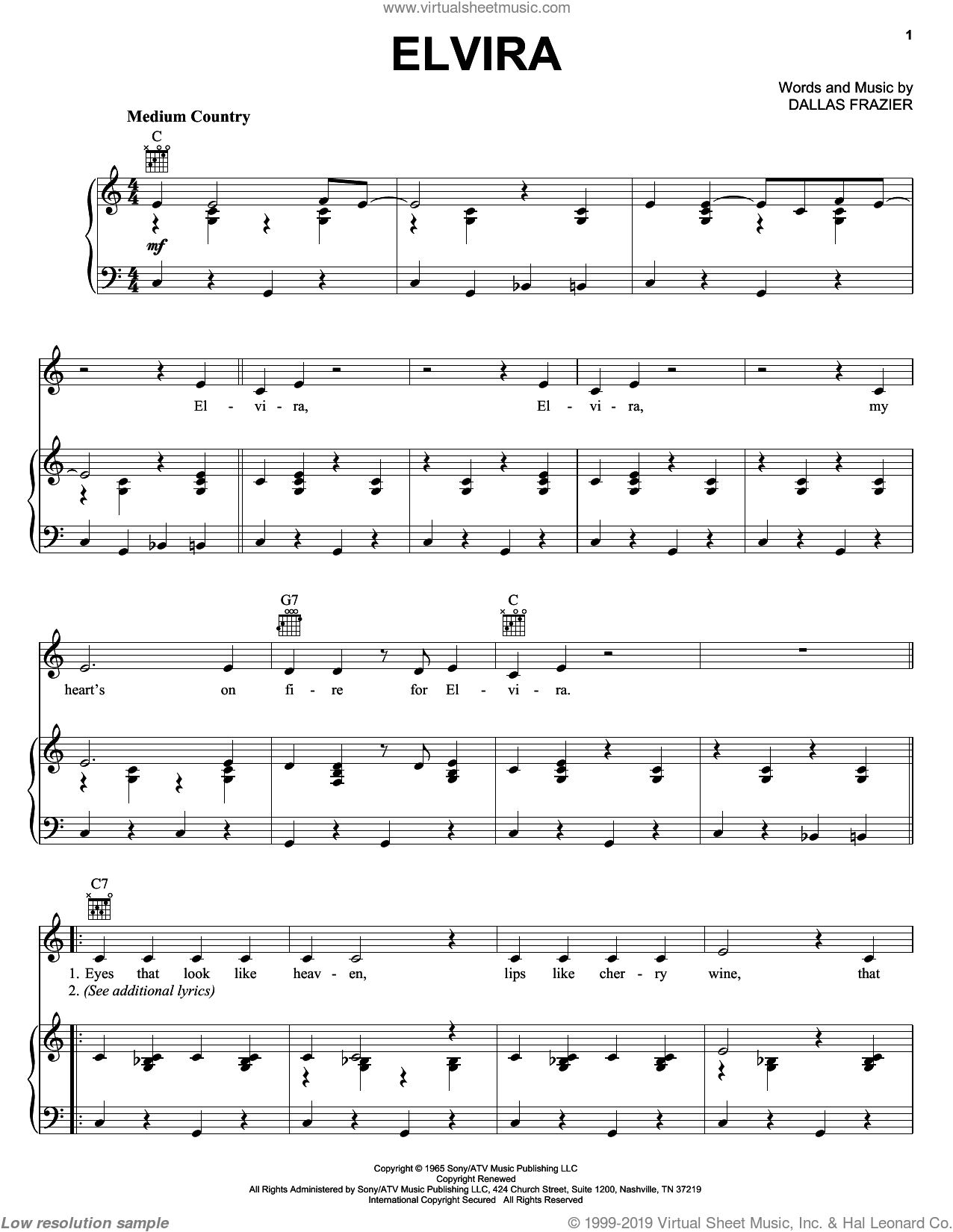 Elvira sheet music for voice, piano or guitar by Oak Ridge Boys and Dallas Frazier, intermediate skill level