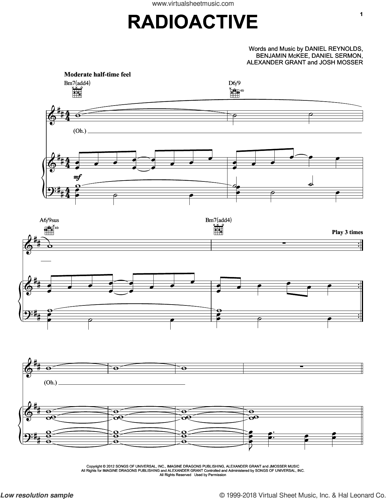 Radioactive sheet music for voice, piano or guitar by Imagine Dragons, intermediate skill level