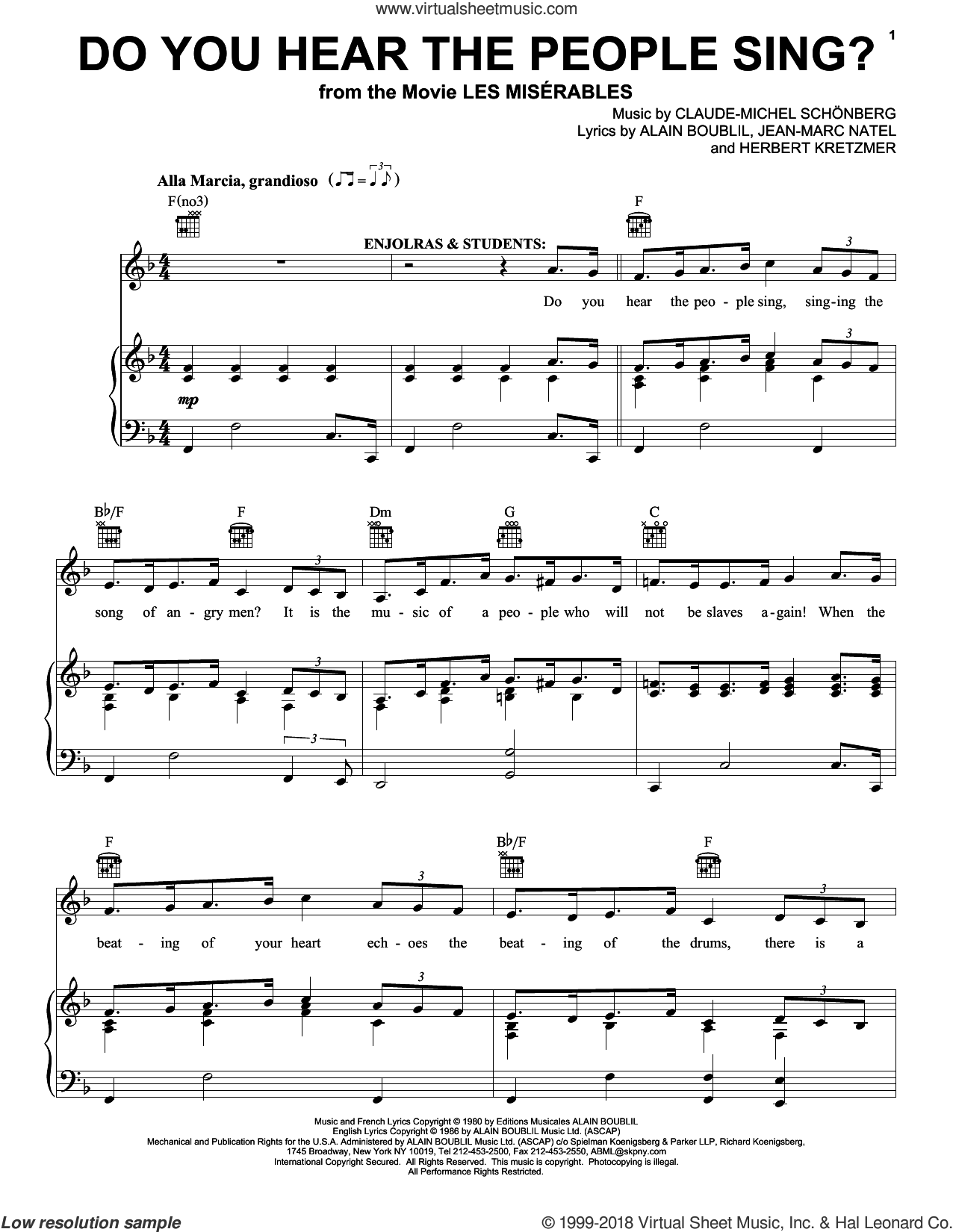 Do You Hear The People Sing? sheet music for voice, piano or guitar by Claude-Michel Schonberg, Alain Boublil and Herbert Kretzmer, intermediate skill level
