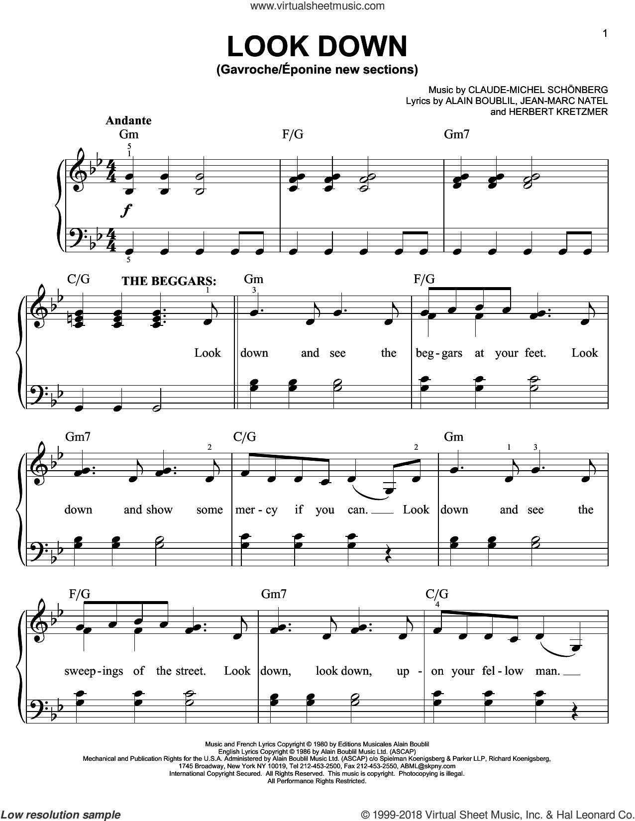Look Down (Gavroche) sheet music for piano solo by Claude-Michel Schonberg, Alain Boublil and Herbert Kretzmer, easy skill level