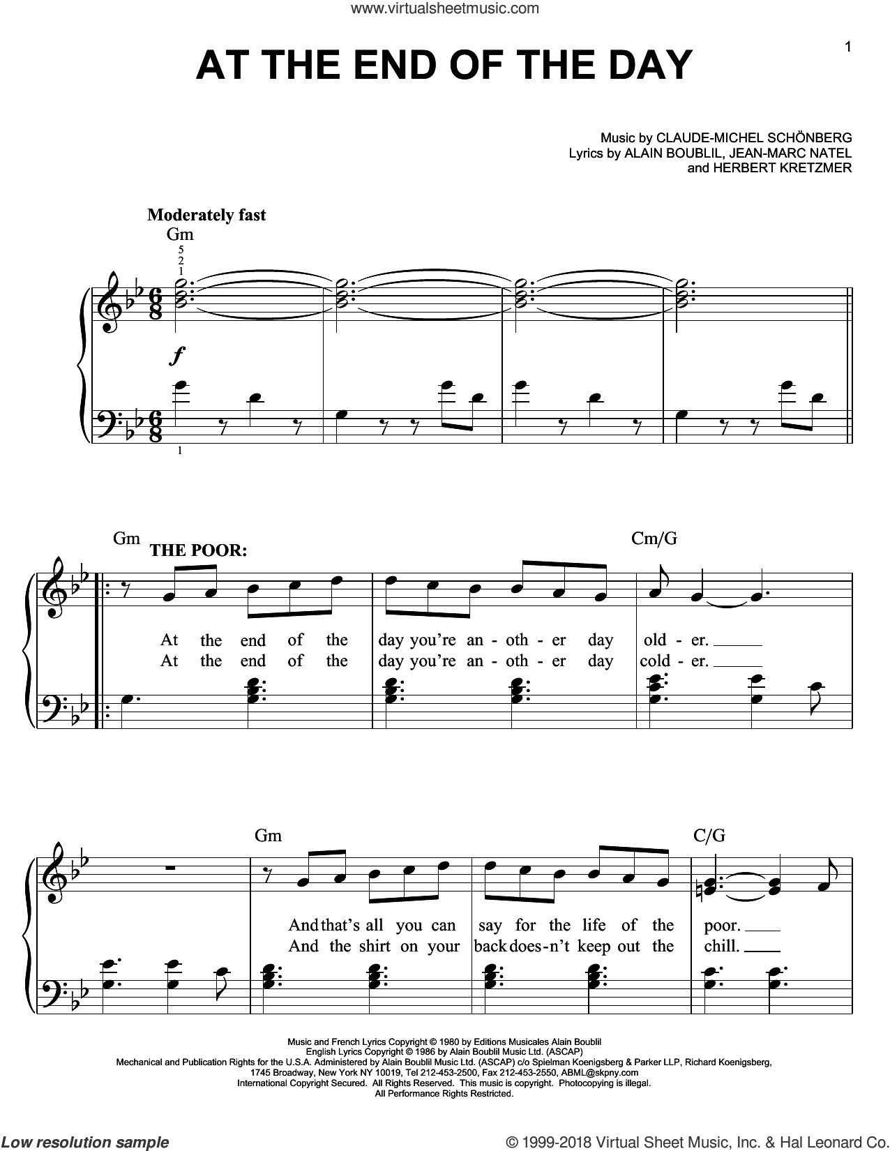 At The End Of The Day sheet music for piano solo by Claude-Michel Schonberg, Alain Boublil and Herbert Kretzmer, easy piano. Score Image Preview.