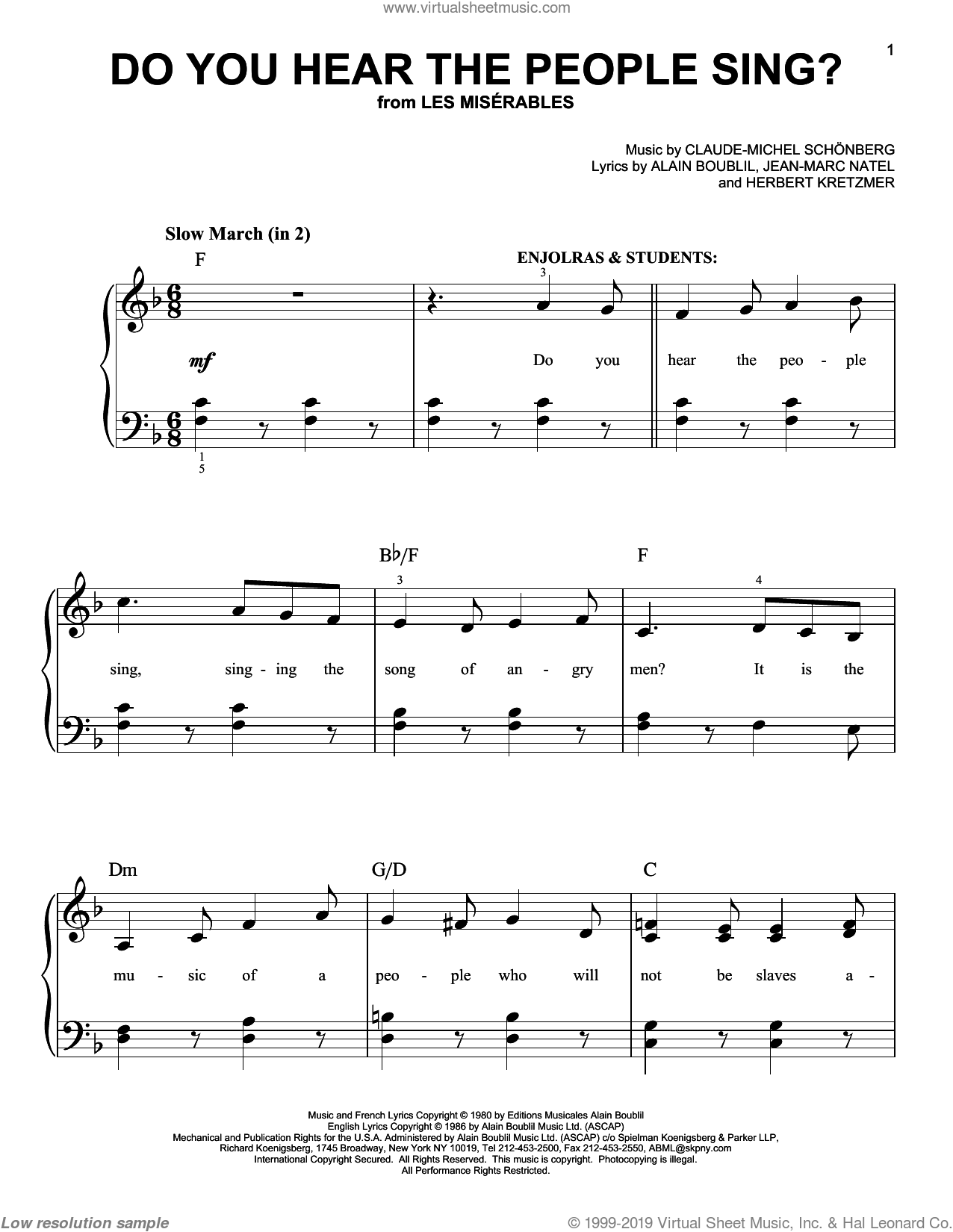 Do You Hear The People Sing? sheet music for piano solo by Claude-Michel Schonberg, Alain Boublil and Herbert Kretzmer, beginner skill level