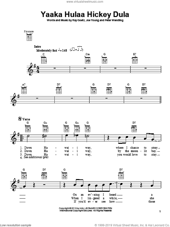 Yaaka Hulaa Hickey Dula sheet music for ukulele by Ray Goetz