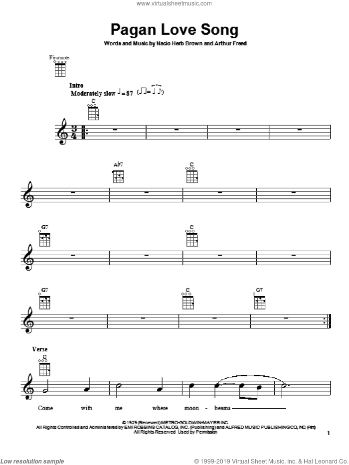 Pagan Love Song sheet music for ukulele by Nacio Herb Brown and Arthur Freed. Score Image Preview.