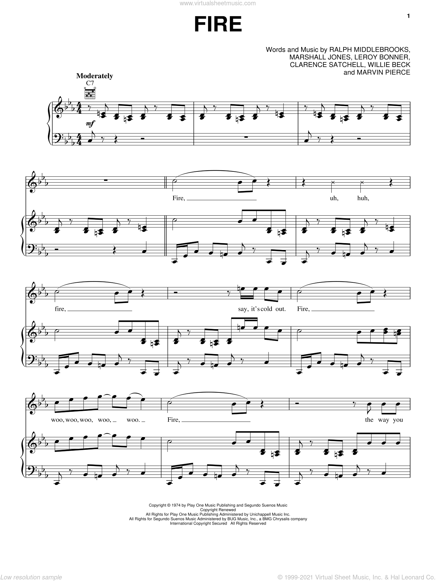 Fire sheet music for voice, piano or guitar by Ohio Players