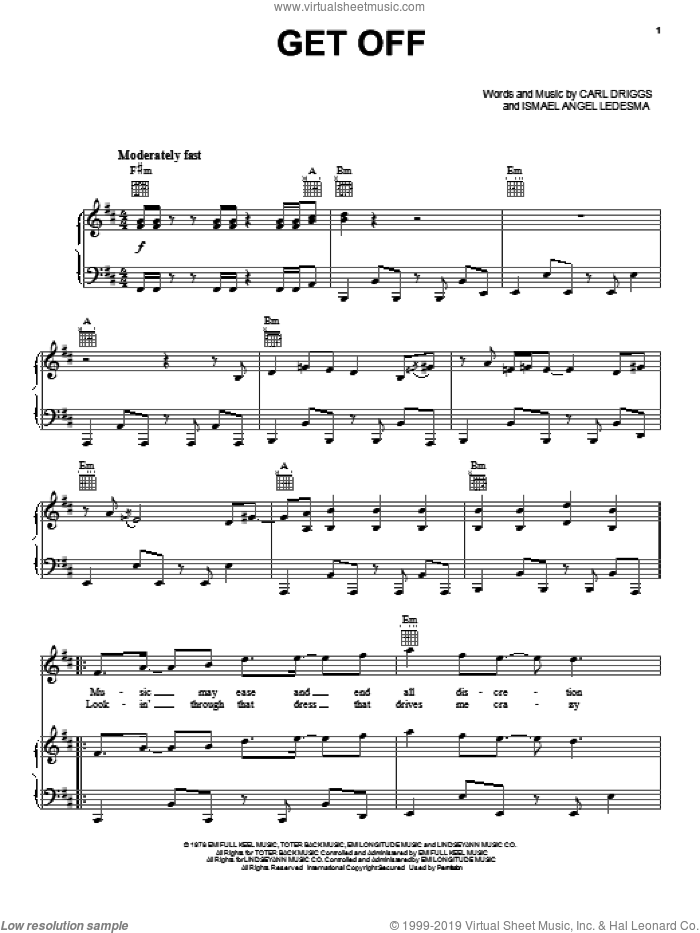 Get Off sheet music for voice, piano or guitar by Carl Driggs and Ismael Angel Ledesma, intermediate skill level
