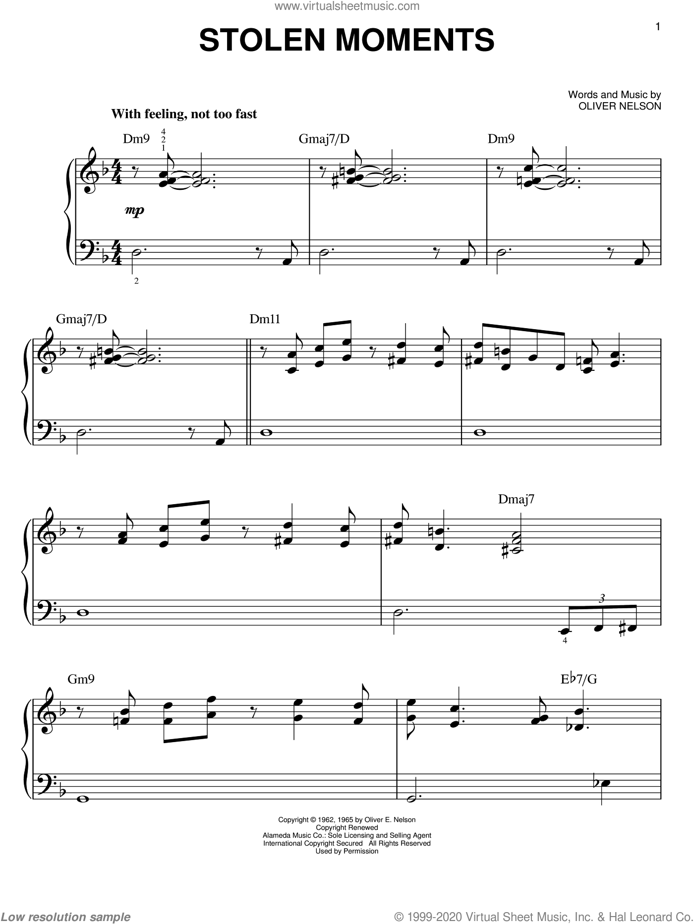 Stolen Moments, (easy) sheet music for piano solo by Oliver Nelson, easy skill level