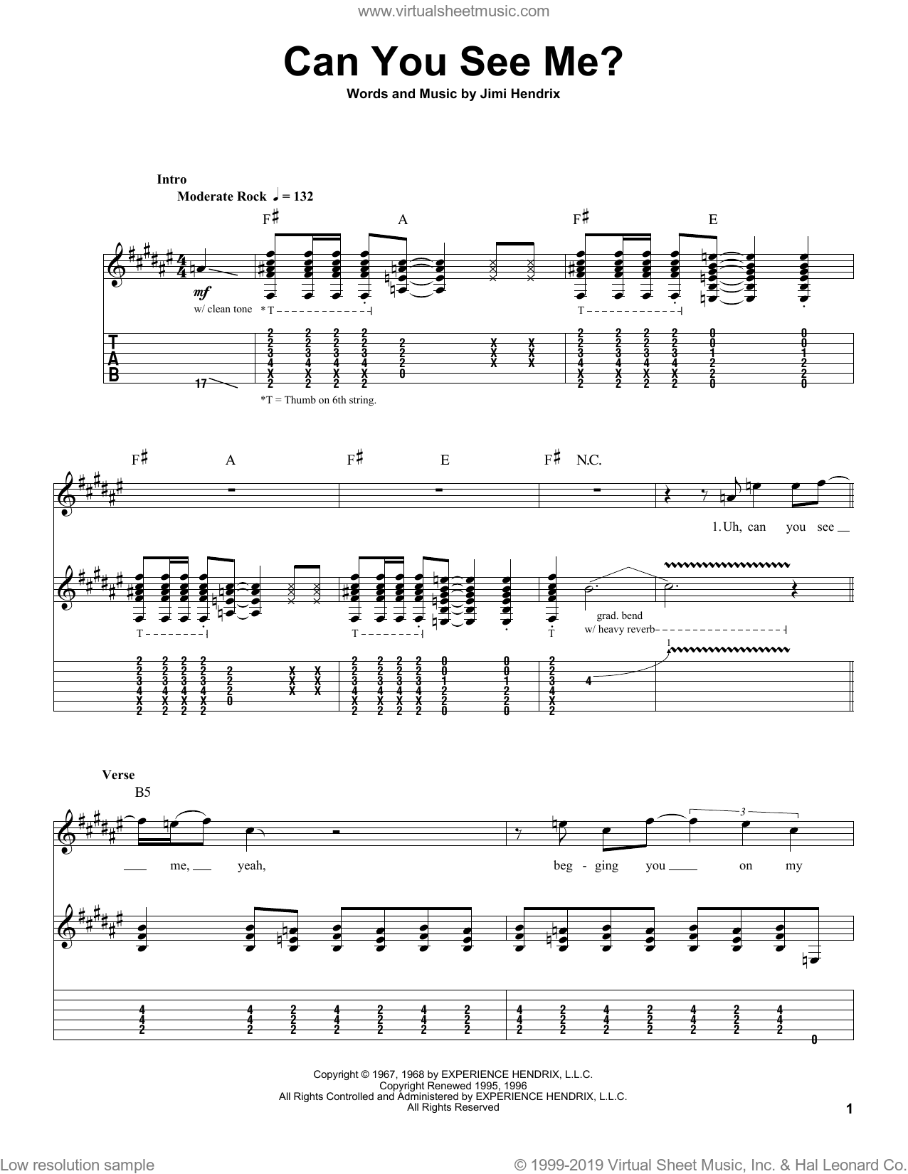 Can You See Me? sheet music for guitar (tablature, play-along) by Jimi Hendrix. Score Image Preview.
